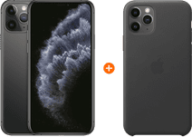 Apple iPhone 11 Pro 256 GB Space Grau + Apple iPhone 11 Pro Leather Backcover Schwarz