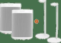 Sonos One Doppelpack + 2 Sonos Lautsprecher-Ständer Weiß