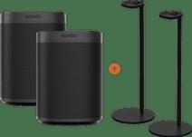 Sonos One SL Doppelpack + zwei Sonos Lautsprecher-Ständer Schwarz