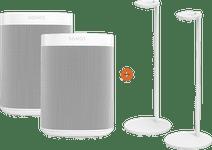 Sonos One SL Doppelpack + 2 Sonos Lautsprecher-Ständer Weiß