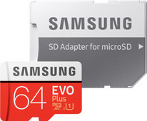Samsung microSDXC EVO+, 64 GB, 100 MB/s, CL 10 + SD-Adapter