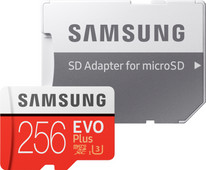 Samsung microSDXC EVO+, 256 GB, 100 MB/s, CL 10 + SD-Adapter