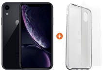 Apple iPhone Xr 128 GB Schwarz + Otterbox Clearly Protected Skin Alpha Glass