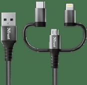 Trust Keyla 3-in-1 USB-A nach USB-C / Lightning / Micro-USB-Kabel 1 m Aluminium Schwarz