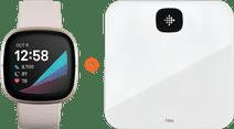 Fitbit Sense Weiß/Gold + Fitbit Aria Air Weiß