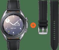 Samsung Galaxy Watch3 Silber 41 mm + Samsung Galaxy Watch3 41 mm Silikonarmband Schwarz 20