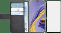 Azuri Wallet Samsung Galaxy A51 Book Case Schwarz + Case Friendly Displayschutz Glas