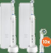 Oral-B Pro 2 2500 Duo Pack weiß + Cross Action-Bürstenköpfe (10 Stück)