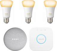 Google Nest Mini Philips Hue White Ambiance Starter 3er-Pack