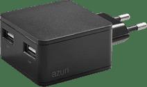 Azuri Ladegerät ohne Kabel, 2 USB-Anschlüsse 12 W in Schwarz