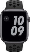 Apple Watch Nike Series 6 44mm Space Grau Aluminium Schwarzes Sportarmband