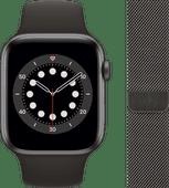 Apple Watch Series 6 44mm Space Grau Aluminium Schwarzes Sportarmband + Milanaise Armband