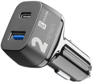 Cellularline-Autoladegerät ohne Kabel, 2 USB-Anschlüsse, 18 W Power Delivery + Quick Charg