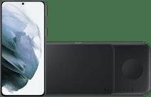 Samsung Galaxy S21 256 GB Grau 5G + Samsung Trio kabelloses Ladegerät 9 W Schwarz