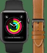 Apple Watch Series 3 42 mm Space Grau Schwarzes Armband + DBramante1928 Lederarmband Braun