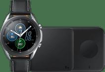 Samsung Galaxy Watch3 Silber 45 mm + Samsung Kabelloses Ladegerät DUO Pad 9W Schwarz
