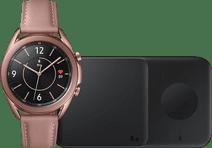 Samsung Galaxy Watch3 Gold 41 mm + Samsung Kabelloses Ladegerät DUO Pad 9W Schwarz