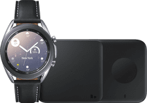 Samsung Galaxy Watch3 Silber 41 mm + Samsung Kabelloses Ladegerät DUO Pad 9W Schwarz