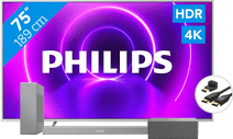 Philips 75PUS8505 + Soundbar + WLAN-Lautsprecher + HDMI-Kabel