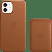 Apple iPhone 12 / 12 Pro Back Cover mit MagSafe Leder Braun + Leder-Kartenhalter mit MagSa