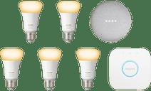 Google Nest Mini Philips Hue White Ambiance Starter 5er-Pack