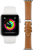 Apple Watch Series 3 42 mm Silber weißes Armband + DBramante1928 Lederarmband Braun/Silber