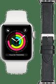 Apple Watch Series 6 42 mm Silber weißes Armband + DBramante1928 Lederarmband Schwarz/Silb