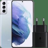 Samsung Galaxy S21 Plus 256 GB Silber 5G + Samsung Schnellladegerät ohne Kabel 25 W