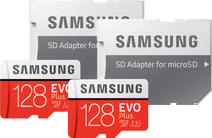 Samsung microSDXC EVO Plus 128 GB + SD Adapter Duo Pack