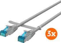 BlueBuilt Netzwerkkabel STP CAT6 3 Meter Grau 3er-Pack