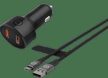 BlueBuilt Quick Charge Autoladegerät 18W mit 2 USB-C-Anschlüssen und USB C
