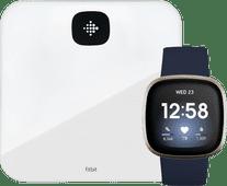 Fitbit Versa 3 Blau/Gold + Fitbit Aria Air Weiß