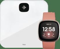 Fitbit Versa 3 Rosa/Gold + Fitbit Aria Air Weiß