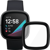Fitbit Sense Grau + PanzerGlass Fitbit Sense, Versa 3 Displayschutzfolie Glas Schwarz
