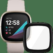 Fitbit Sense Weiß/Gold + PanzerGlass Fitbit Sense, Versa 3 Displayschutzfolie Glas Schwarz