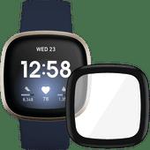 Fitbit Versa 3 Blau/Gold + PanzerGlass Fitbit Sense, Versa 3 Displayschutzfolie Glas Schwa