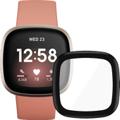 Fitbit Versa 3 Rosa/Gold + PanzerGlass Fitbit Sense, Versa 3 Displayschutzfolie Glas Schwa