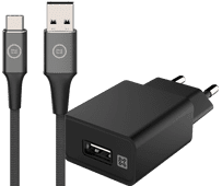 XtremeMac Ladegerät 12W Schwarz + Lightning-Kabel 1m Nylon Schwarz